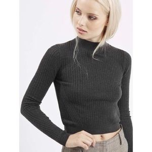 Topshop Mock Neck Cropped Sweater